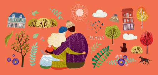 set to create a cute illustration with a happy family in nature and the elements: the sun, a tree, flowers, ornament, plants, clouds, house, mother, father, child, cat, dog, hat, bush, birds, scarf,