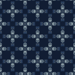 Indigo Blue Dye Batik Patchwork Seamless Vector Pattern. Hand Drawn Japanese Style Quilt Texture for Handicrafts Textile Prints, Classic Japan Boho Backdrop, Ethnic Packaging, Kimono Fashion Fabrics.
