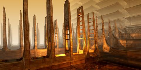 Fantasy landscape. 3D fractal art..