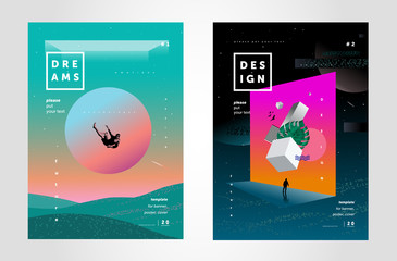 Future, illusions and dreams. Vector illustration of abstract backgrounds for crazy cover, poster or brochure, space banner on the themes of creativity and design