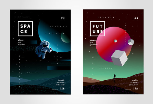 space, abstract background for a poster or cover of the future, a design template from multi-colored gradient, illustrations of planets, a starry sky, a spaceman and mars