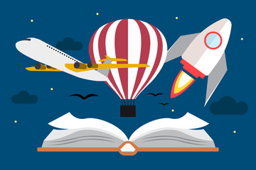Vector of flying transport above book