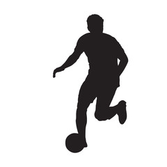 Football player running with ball, front view. Isolated vector silhouette. Soccer player
