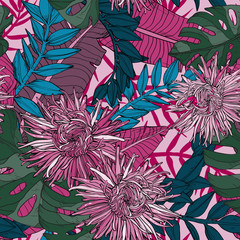 Floral seamless pattern with beautiful aster flowers and plants