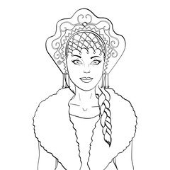 Russian girl with a scythe and in kokoshnike. National clothes of Russia. Raster object on a white background. Coloring book