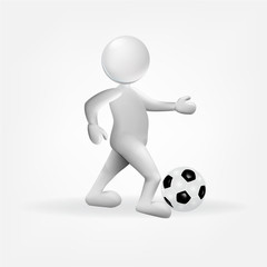 3D white small people with a soccer ball icon vector