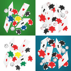 Falling realistic casino cards, chips and aces vector illustration. Online casino banners collection.