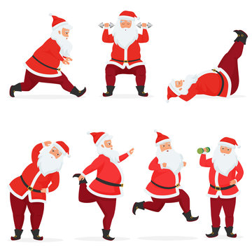Vector funny and cute Santa Claus set does gym exercises with dumbbells and barbell isolated. Sport fitness santa.