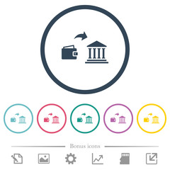 Money deposit to bank flat color icons in round outlines