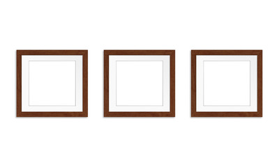 Three photo frames collage isolated on white background, gallery style mock up, 3d illustration