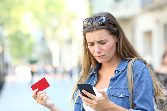Worried girl having payment problems