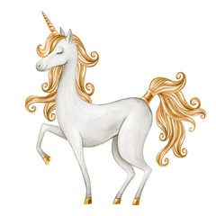 watercolor unicorn illustration, fairy tale creature, gold curly hair, fantasy animal clip art, isolated on white background