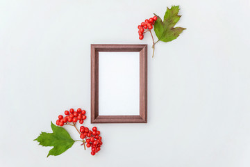 Autumn floral composition. Photo frame, viburnum berries on white background. Autumn fall natural plants ecology fresh wallpaper concept. Flat lay, top view, copy space