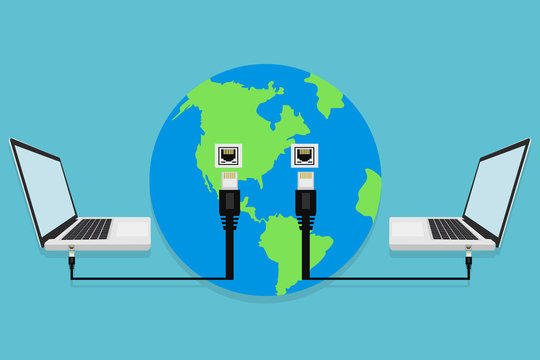 Laptops connected to the Earth