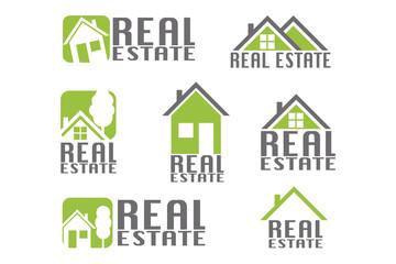 Real estate emblems set