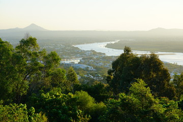 Panoramic view of Noosa from the Noosa National Park Laguna Lookout in Queensland, Australia