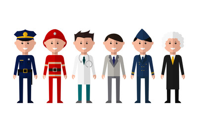 A group of people of different professions. Set of workers standing on a white background: police, fireman, doctor, business man, pilot, judge. Flat vector illustration.