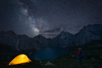 Traveling in China at night, camping in China's national park, starry sky