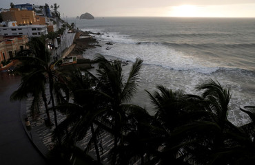 Palm trees waves in Mazatlan as Hurricane Willa approaches the Pacific beach resort,