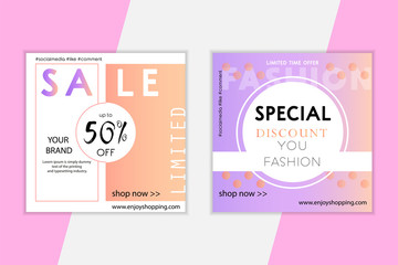 Modern promotion web banner for mobile apps. Design backgrounds for social media. Trendy sale and discount promo backgrounds with abstract pattern and color gradient. Vector lIlustration