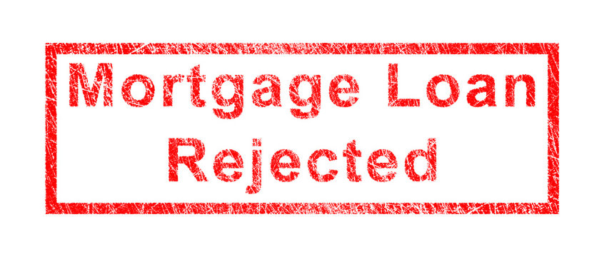 Mortgage Loan Rejected in RED STAMP WITH SCRATCH EFFECT ON WHITE BACKGROUND.