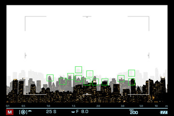 VIEWFINDER SHOWS NIGHT VIEW SILHOUETTE OF NEW YORK / MANHATTAN WITH FOCUS ON SKYSCRAPERS / SPACE FOR TEXT IN THE SKY