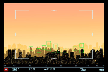 VIEWFINDER SHOWS NIGHT VIEW SILHOUETTE OF NEW YORK / MANHATTAN WITH FOCUS ON SKYSCRAPERS / SPACE FOR TEXT IN THE SKY.