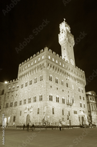 Fototapete Palazzo Vecchio and town hall building in Florence, Tuscany, Europe