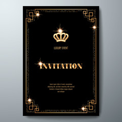 VIP invitation template with golden crown and art deco frame on black background