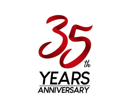 35 anniversary logo vector red ribbon