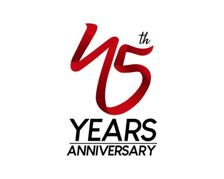 45 anniversary logo vector red ribbon