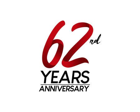 62 anniversary logo vector red ribbon