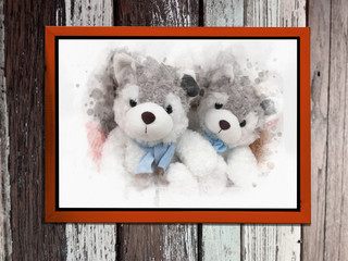 image of two cute siberian husky puppy toy ( watercolor style) with wooden frame hang on vintage wooden wall
