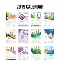 2019 Calendar, calendar 2019 with modern shape and 12 months