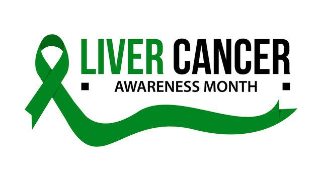 Liver cancer awareness month ribbon vector illustration
