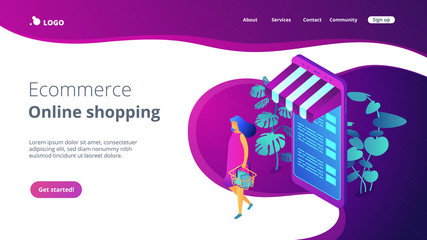 Online shopping concept Isometric 3D landing page.