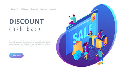Online sales pro concept Isometric 3D landing page.
