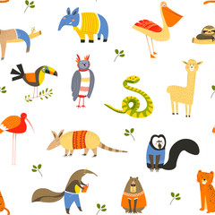 Funny animals wearing knitted sweaters and clothes seamless pattern isolated on white vector.