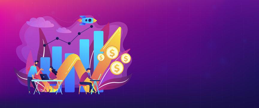 Sales growth concept banner header.