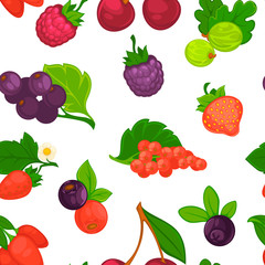 Fruits and berries raspberry and strawberry seamless pattern vector.
