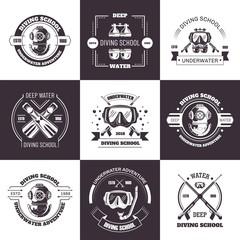 Diving school deep water promo monochrome emblems set.