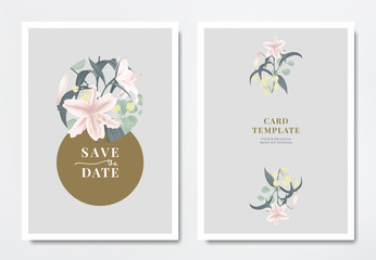 Botanical wedding invitation card template design, pink lilies with Silver Dollar Eucalyptus leaves in circle frame on light gray background, minimalist vintage style
