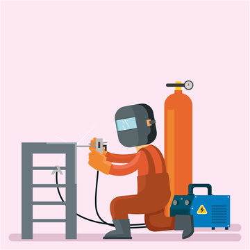 Welder are repairing stairs and he use protect helmet