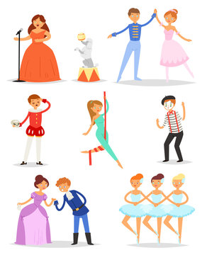 Actor vector performer or actress character playing entertainment performance on theater stage illustration set of ballerina dancing ballet and showman isolated on white background