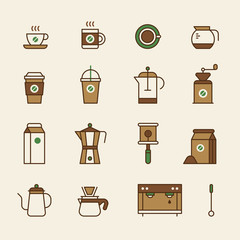 Coffee related supplies Brown color Simple icon set. flat design style vector graphic illustration.