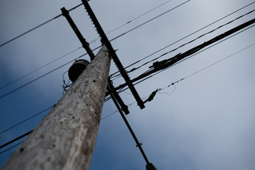 wooden pole and wires