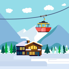 Cool vector ski resort mountain detailed landscape with lodge, spruce trees and funicular. Winter sports vacation destination concept background