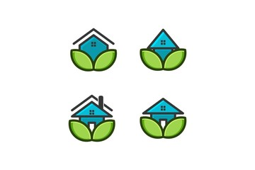 eco house, home care logo Designs Inspiration Isolated on White Background