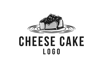 hand drawn piece of cheese cake logo Designs Inspiration Isolated on White Background