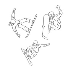 set of freeride snowboarder rolls on a snow vector illustration sketch doodle hand drawn with black lines isolated on white background. Winter sport.